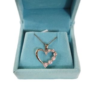 Heart Pendant Necklace Sterling Silver Pink Stones